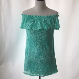 Mint Green Off the Shoulder Lace Midi Dress Med.